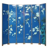 Product ID : 7104 - Category : Screen - Product Name : Blue Lacquer Painted 6 Panels Room Divider Folding Screen with Flowers and Birds Pattern