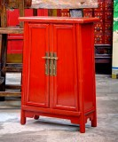 Product ID : 6745 - Category : Side Cabinet - Product Name : Red Lacquer Wooden 2 Doors Side Cabinet