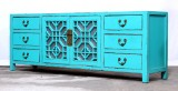 Product ID : 7023 - Category : TV Cabinet - Product Name : Aqua Blue Lacquer Painted TV Cabinet with Glass Door and 6 Drawers