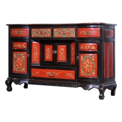 Product ID : 7092 - Category : Long Sideboard - Product Name : Antique Chinese Style Black and Red Gold Woodcarving Sideboard