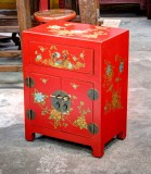 Product ID : 6672 - Category : Bedside Table - Product Name : Red Leather Wrapped Bedside Cabinet