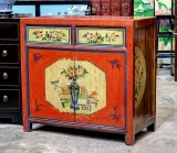 Product ID : 6799 - Category : Side Cabinet - Product Name : Chinese Red and Yellow Lacquer Painted Side Cabinet 2 Drawers 2 Doors