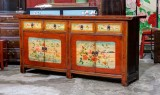 Product ID : 6874 - Category : Sideboard - Product Name : Vintage China Shanxi Province Lacquer Painted Cabinet with 4 Drawers and 4 Doors