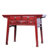 Product ID : 7150 - Category : Console Table - Product Name : Vintage Chinese Red Lacquer Console Table with Five Drawers