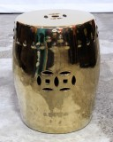 Product ID : 6830 - Category : Chair - Product Name : Gold Glaze Chinese Double Coin Symbol Drum Style Ceramic Stool