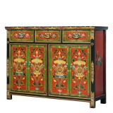 Product ID : 7114 - Category : Sideboard-Long - Product Name : Tibetan Style Lacquer Painted Sideboard with 3 Drawers and 4 Doors