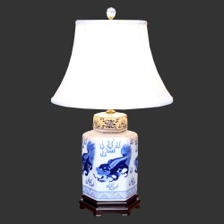 Product ID : 6953 - Category : Lighting - Product Name : Blue and White Table Lamp with Lion Pattern
