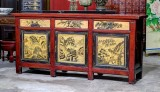 Product ID : 6809 - Category : Sideboard - Product Name : Vintage China Shanxi Province Lacquer Painted Cabinet with 3 Drawers and 3 Doors