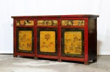 Product ID : 6917 - Category : Long Sideboard - Product Name : Vintage Chinese Shanxi Province Lacquer Painted Sideboard Cabinet