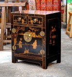 Product ID : 6509 - Category : Bedside Table - Product Name : Chinese Style Black Lacquer Gold Painted Bedside Cabinet