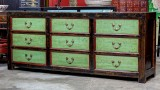Product ID : 6796 - Category : Sideboard - Product Name : Chinese Black and Green Lacquer 9 Drawers Long Buffet Sideboard