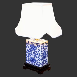 Product ID : 6990 - Category : Lighting - Product Name : Blue and White Table Lamp with Peony Flower Pattern
