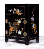 Product ID : 7041 - Category : Small Cabinet - Product Name : Black Leather Wrapped Bedside Cabinet