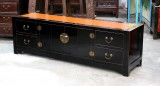 Product ID : 6639 - Category : TV Cabinet - Product Name : Black Lacquer Gold Edge TV Cabinet with Foldable Door and Rattan Inlay Top