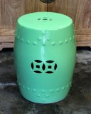 Product ID : 6385 - Category : Chair - Product Name : Green Glaze Chinese Double Coin Symbol Drum Style Ceramic Stool