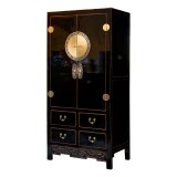 Product ID : 6600 - Category : Wardrobe - Product Name : Chinese Style Black Lacquer Wardrobe with 4 Drawer and Brass Decor