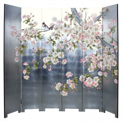 Product ID : 7078 - Category : Screen - Product Name : Silver Background Flower and Bird Lacquer Painted Folding Screen Room Divider 6 Panels