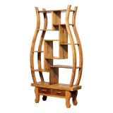 Product ID : 6918 - Category : Shelf - Product Name : Wooden Chinese Style Vase Shape Curio Shelf or Bookshelf