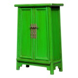 Product ID : 7050 - Category : Small Cabinet - Product Name : Green Lacquer Painted Side Cabinet with 2 Doors