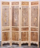 Product ID : 7014 - Category : Screen - Product Name : Wood Carving Double Side Folding Screen with Four Seasons Flourish