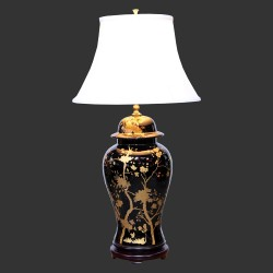 Product ID : 6930 - Category : Lighting - Product Name : Black Ceramic Ginger Jar Style Table Lamp with Gold Cherry Blossom