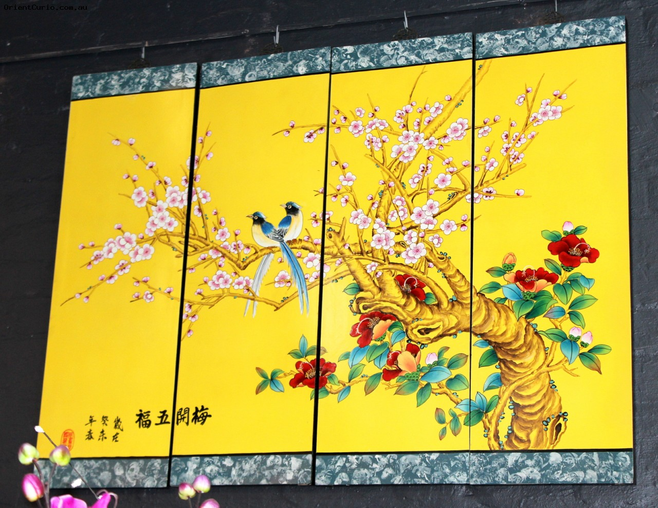 6518 - Cherry Blossom and Birds Lacquer Painted Wooden Panel ...