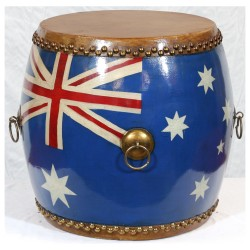 Product ID : 6442 - Category : Other Decor - Product Name : Wooden Double Side Leather Drum with Australian Flag Painted