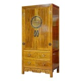 Product ID : 6853 - Category : Wardrobe - Product Name : Chinese Style Wooden Wardrobe with 4 Drawer and Brass Decor