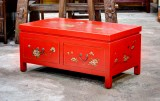 Product ID : 6611 - Category : Coffee Table - Product Name : Red Leather Wrap 2 Drawer Coffee Table