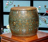 Product ID : 6068 - Category : Other Decor - Product Name : Wooden Double Side Leather Drum with Green Lacquer and Gold Pattern