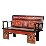 Product ID : 7133 - Category : Chair - Product Name : Vintage Chinese Long Sitting Bench with Wood Carving Decor