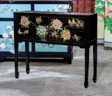 Product ID : 6817 - Category : Console Table - Product Name : Black Lacquer Chinese Style Painted Hallway Console Table with Flower and Bird Pattern