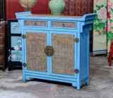 Product ID : 6865 - Category : Sideboard - Product Name : Chinese Altar Style Blue Lacquer Sideboard with Rattan Inlay Top and Doors