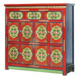 Product ID : 7093 - Category : Sideboard-Long - Product Name : Tibetan Style Lacquer Painted Sideboard with 3 Drawers 8 Doors