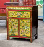 Product ID : 6700 - Category : Bedside Table - Product Name : Tibetan Style Lacquer Painted Bedside Cabinet 1 Drawer 2 Door