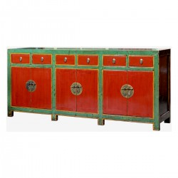 Product ID : 6906 - Category : Long Sideboard - Product Name : Vintage Chinese Green and Red Lacquer Painted Long Buffet Sideboard with 6 Drawer and 6 Door
