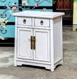 Product ID : 6818 - Category : Bedside Table - Product Name : Wooden White Lacquered Bedside Cabinet 2 Drawer 2 Door