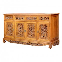 Product ID : 6744 - Category : Sideboard - Product Name : Vintage Chinese Style Wood Carving Sideboard 4 Drawers 4 Doors
