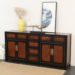 Product ID : 7006 - Category : Long Sideboard - Product Name : Chinese Black Lacquer Sideboard 8 Drawers and 4 Doors