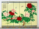Product ID : 6229 - Category : Screen - Product Name : Flower and Butterfly Hand Painted Room Divider Screen