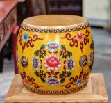 Product ID : 6760 - Category : Other Decor - Product Name : Wooden Double Side Leather Drum with Tibetan Painting
