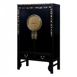 Product ID : 6966 - Category : Wardrobe - Product Name : Chinese Black Lacquer Painted Wedding Cabinet Style Wardrobe with Chinese Zodiac Brass Decor