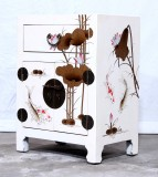 Product ID : 7042 - Category : Small Cabinet - Product Name : White Leather Wrapped Bedside Cabinet