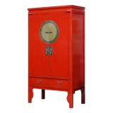 Product ID : 7121 - Category : Wardrobe - Product Name : Chinese Red Lacquered Wedding Cabinet Style Wardrobe