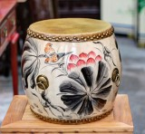 Product ID : 6759 - Category : Other Decor - Product Name : Wooden Double Side Leather Drum with Lotus and Bird Painting