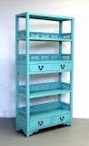 Product ID : 6152 - Category : Shelf - Product Name : Blue Lacquer Bookshelf with 4 Drawer