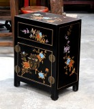 Product ID : 6671 - Category : Bedside Table - Product Name : Black Leather Wrapped Bedside Cabinet