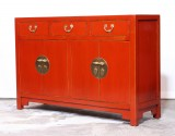 Product ID : 7009 - Category : Sideboard-Long - Product Name : Red Lacquer Painted Chinese Style Sideboard with 3 Drawers and 4 Doors