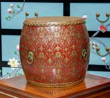 Product ID : 6833 - Category : Other Decor - Product Name : Wooden Double Side Leather Drum with Red Lacquer and Gold Pattern