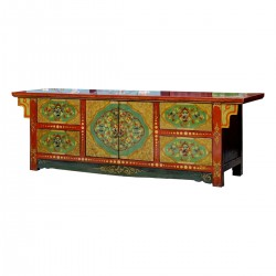 Product ID : 6882 - Category : TV Cabinet - Product Name : Tibetan Style Lacquer Painted TV Cabinet with 4 Drawer and 2 Door